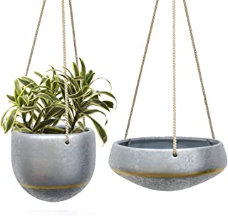 Hanging Planters Flower Plant Pot - Hand Painted Gray Ceramic Shallow 8 Inch & Deep 6 Inch Herb Ivy Succulent Planter Indoor with Silver Pattern and Gold Accent, Home Decor Gift, Set of 2