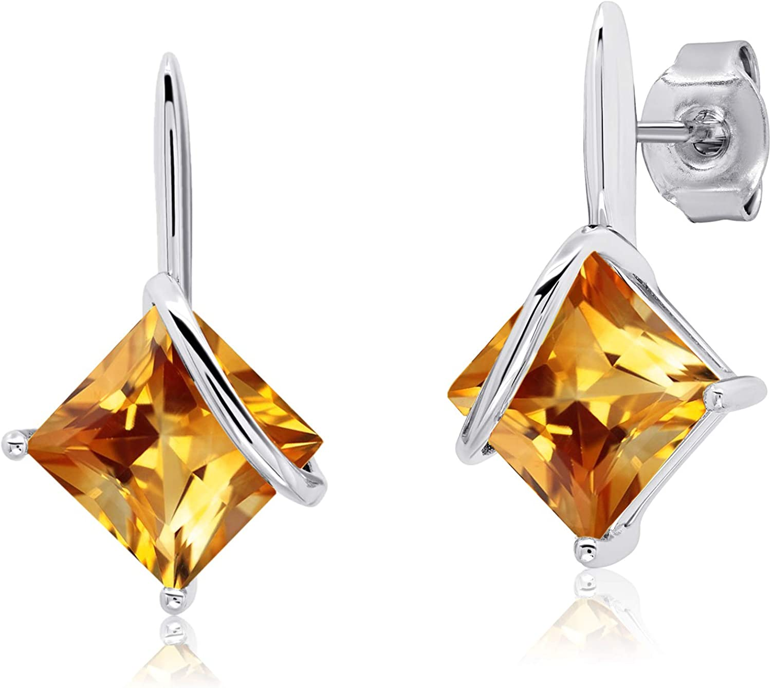 Max 67% OFF 7x7mm Square-Cut Gemstone Drop Earrings Seattle Mall Sterling Silver 925 in