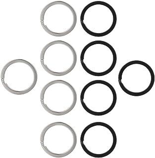 Vpsan Split Ringe Schlüsselanhänger Ringe Metall Schlüsselringe Metallringe für Auto Haus Schlüssel Zubehör, 25 mm, Schwarz und Silber, 10 Stück