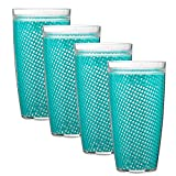 Kraftware The Fishnet Collection Doublewall Drinkware, Set of 4, 22 oz, Teal