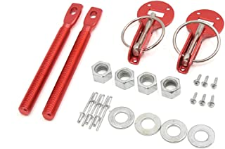 uxcell Universal Red Aluminum Alloy Mount Bonnet Hood Pin Lock Latch Kit for Racing Car
