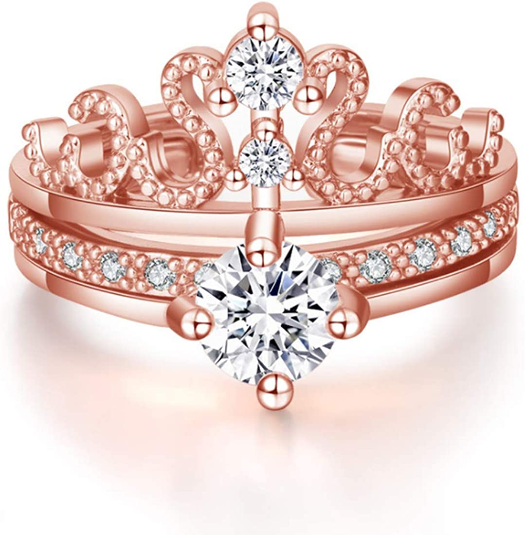 King Love Star 14K Rose Gold Plated Adjustable Detachable Crystal Crown Rings 2-in-1 Combination Rings Stacking Rings Open Finger Ring for Women Girl Jewelry