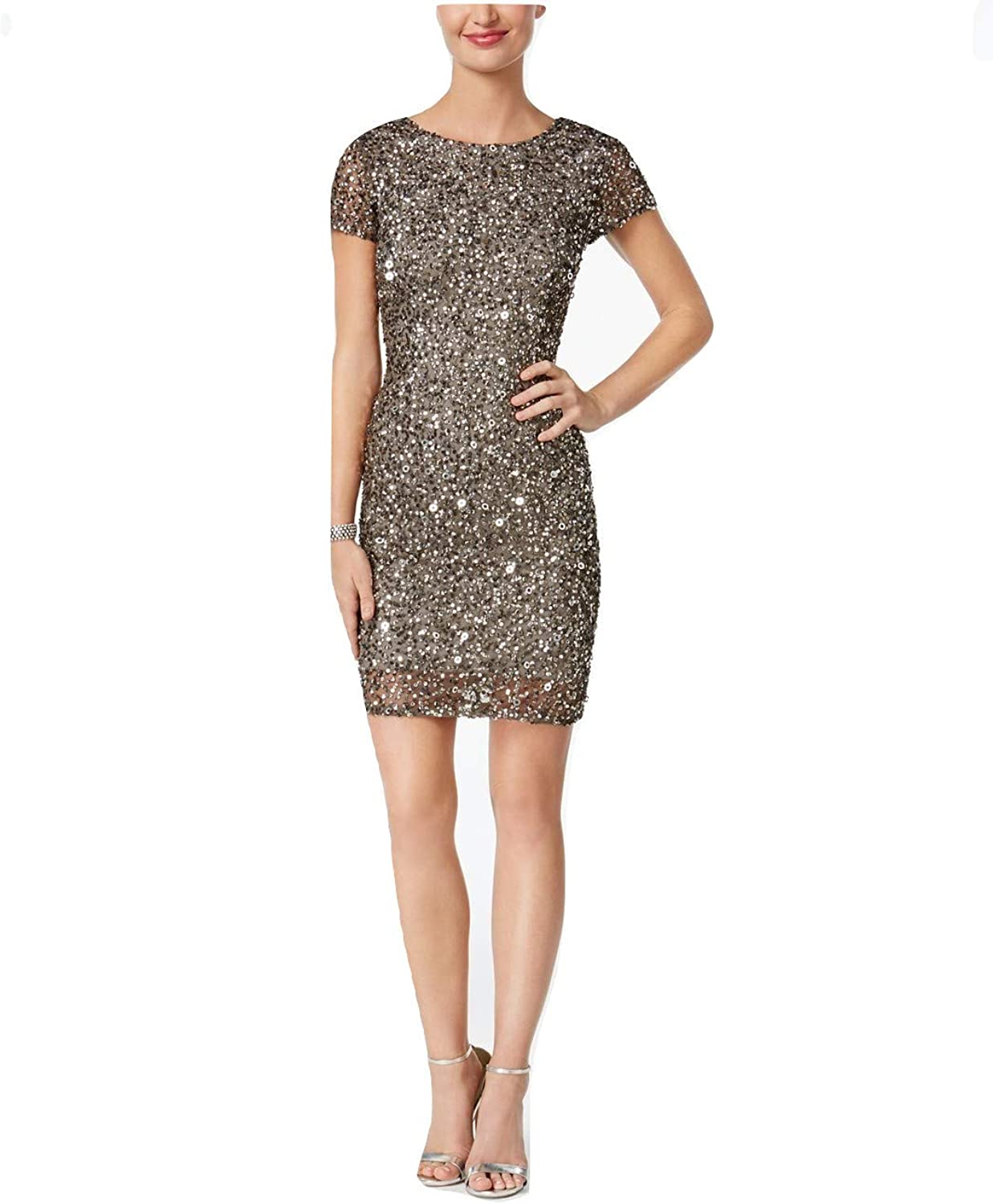 Adrianna Papell Womens Cap Sleeves Above Knee Cocktail Dress