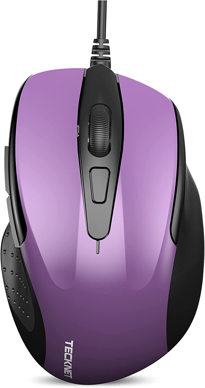 New TECKNET 6-Button USB Wired Mouse Side Buttons, Optical Computer Mouse 1000/2000DPI, Ergonomic Design, 5ft Cord, Support Laptop Chromebook PC Desktop Mac Notebook (Purple)
