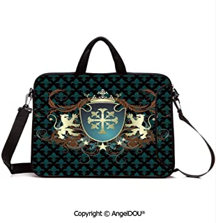 AngelDOU Laptop Sleeve Notebook Bag Case Messenger Shoulder Laptop Bag Heraldic Design of a Middle Ages Coat of Arms Cross Crown Lions Swirls Decorativ Compatible with MacBook HP Dell Lenovo Teal Bl