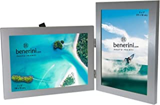 benerini 2 Picture - 5 x 7 inches Brushed Aluminium Silver Colour Double Folding Photo Frame Gift - Takes 2 Standard 5 x 7 inch Photographs - 1 Landscape and 1 Portrait Style