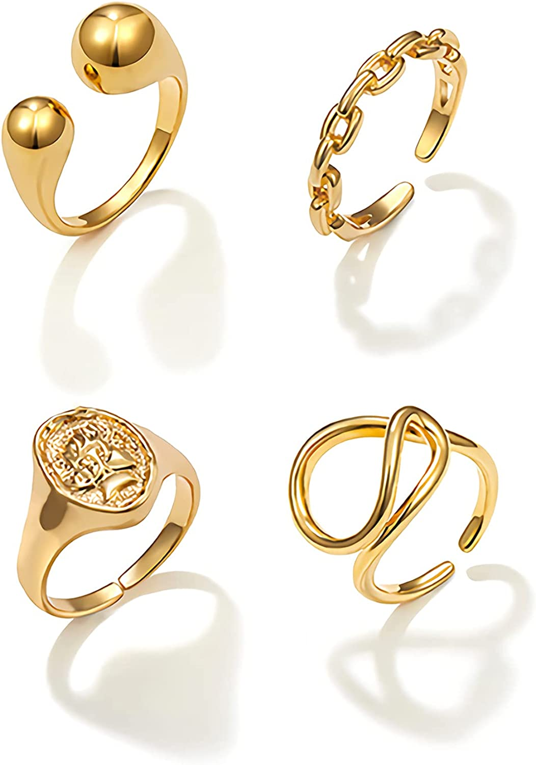 Sloong 4 Daily bargain sale Pcs New popularity Chunky Chain Rings Set Plated Open Ring Gold Ri 14k