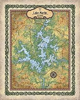 Great River Arts Lake Martin Map Wall Art Print Vintage (24x36 Inches Fine Art Print)