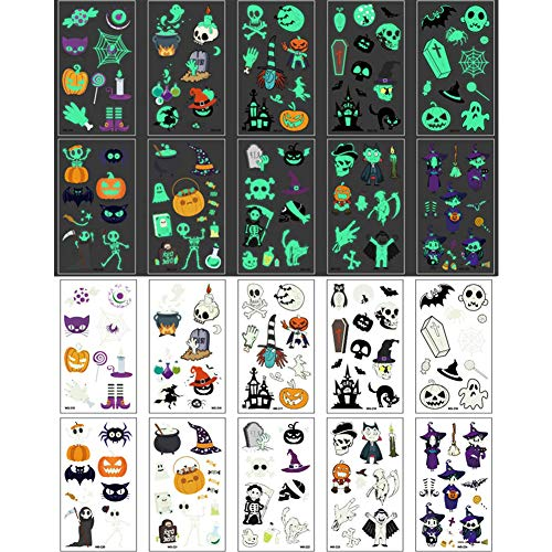 Halloween Temporary Tattoo Stickers for Kids 10 Sheets Glow in the Darkness Waterproof Tattoo Sticker for Face Body Arms,Pumpkin Witch Sugar Skull Cat Bat Art Designs for Halloween Party Favors
