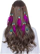 The -Rainbow Hair Accessories Festival Women Hippie Adjustable Headdress Boho Peacock Feather Hair Band,8089-C