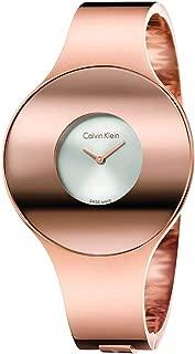 Calvin Klein Seamless Silver Dial Ladies Medium Rose Gold-Tone Bangle Watch K8C2M616