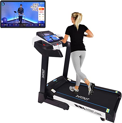 Fitkit FT200 (4.5HP Peak) DC-Motorised Treadmill ( Max Speed: 16km/hr, Max Weight: 110 Kg ) With Free home installation and Connected Live interactive Sessions by Onefitplus