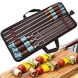 MUUZONING Juego de 7 tenedores de acero inoxidable para barbacoa con mango de madera, 42 cm, con doble punta para barbacoa y pinchos para el hogar o al aire libre con práctica bolsa de almacenamiento