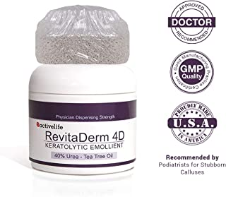 Urea Cream 40% RevitaDerm 4D-Callus and Corn Remover-Moisturizes, Rehydrates & Exfoliates Thick, Cracked, Rough, Dead and Dry Skin-Feet, Knees, Elbows, Hands + Free Pumice Stone