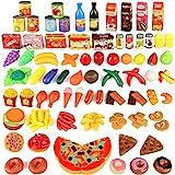 joylink 139pcs Alimentos Juguetes, Juguetes Cortar Frutas Verduras Pizza Comida Juguete de Plástico para Niños Juguetes Temprano Eeducativos Set de Alimentos de Corte Juguete del Bebé