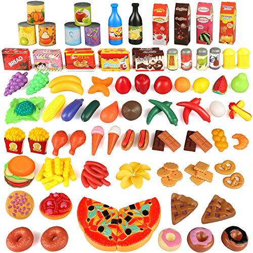 joylink 123 Pièces Jeu de Cuisine Legumes Fruits Jouet Alimentaire Jeu D'imitation Jouet Jouets Educatif Tôt pour Bébé et Enfants Garçons Filles