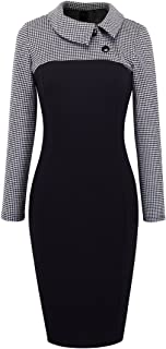 HOMEYEE Women's Retro Colorblock Lapel Career Tunic Dress B238