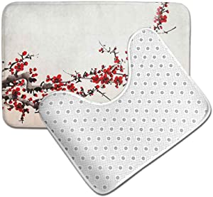 Ahuimin Absorbent Memory Foam Contour Toilet Bath Rug, Cherry Blossom Sakura Tree Branches Ink Paint Stylized Japanese A, Bath Shower Mat and U-Shaped Toilet Mat, Red Cream Brown