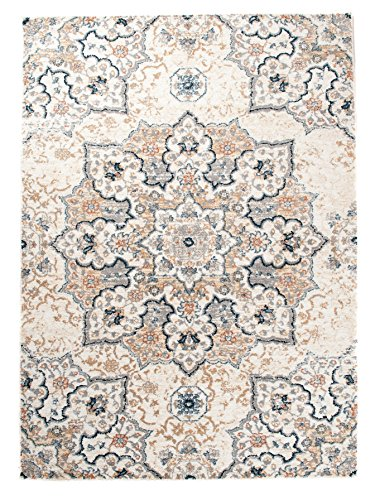 Tapiso Teppich Micro Polyester Shaggy Meliert Rossete Teppich Floral Ornament in Creme - Antique...