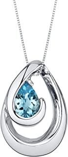 Sterling Silver Wave Pendant Necklace available in various colored stones