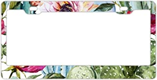 EXMENI Watercolor Cactus License Plate Frame Theft-proof Frames Stainless Steel Board Frames