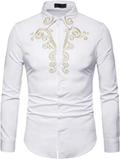 ZEROYAA Mens Hipster Embroidery Design Slim Fit Long Sleeve Button Down Dress Shirts