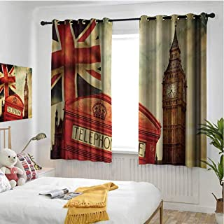 hengshu London Wear-Resistant Color Curtain Vintage Style Symbols of London with National Flag UK Great Britain Old Clock Tower 2 Panel Sets W84 x L108 Inch Multicolor