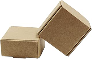 1.45x1.45x0.78 inch 20 Pcs Mini Brown Aircraft Cardboard Jewellery Boxes Square Gift Wrapping Kraft Paper Soap Box Pack Craftwork Gift Fastener Ear Rings Small Jewellery Favor Treat Box