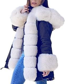 HebeTop Womens Hooded Camouflage Warm Winter Coats Faux Fur Jacket Parka Overcoat