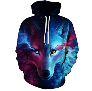 Funny Hoddies Wolf Design Print Sweatshirt Unisex Teens Hooded Pullover