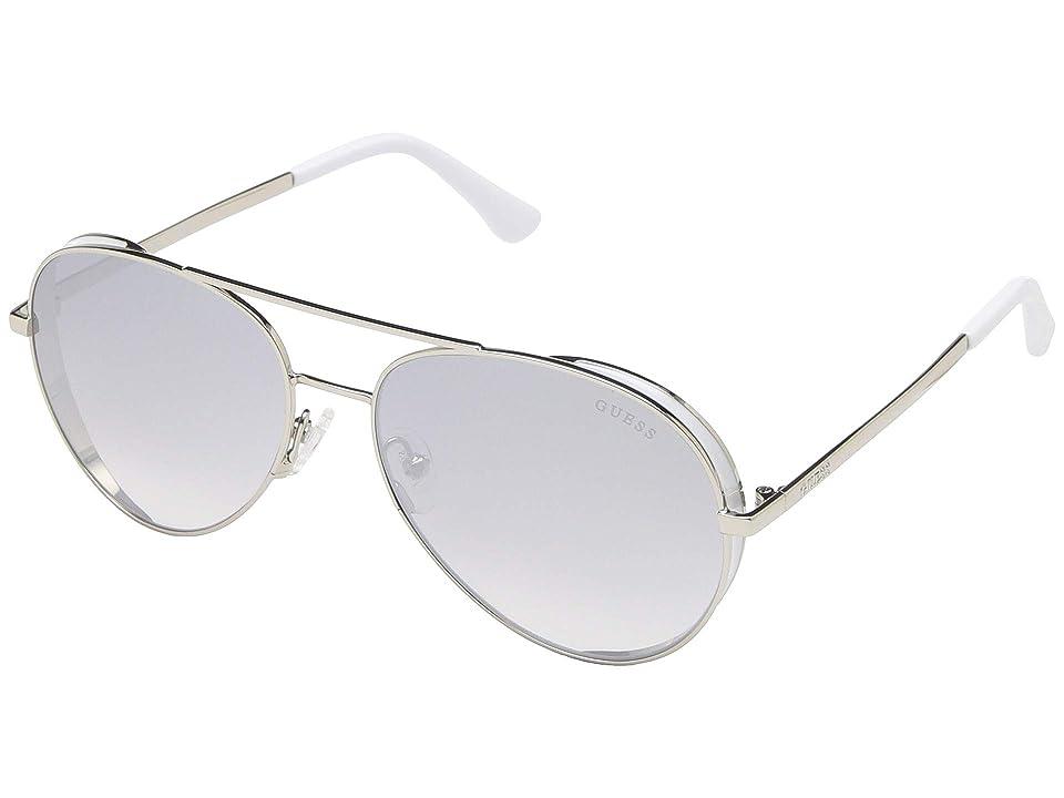 GUESS GU7607 (Shiny Silver Front/Grey Gradient/Silver Flash Lens) Fashion Sunglasses