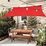XISENOCI Vela parasole, tenda parasole Resistente all'acqua con protezione UV in Poliestere antistrappo, Resistente Alle Intemperie, per Patio da giardino, terrazza, campeggio, rosso-2x2m (6.5x6.5ft)