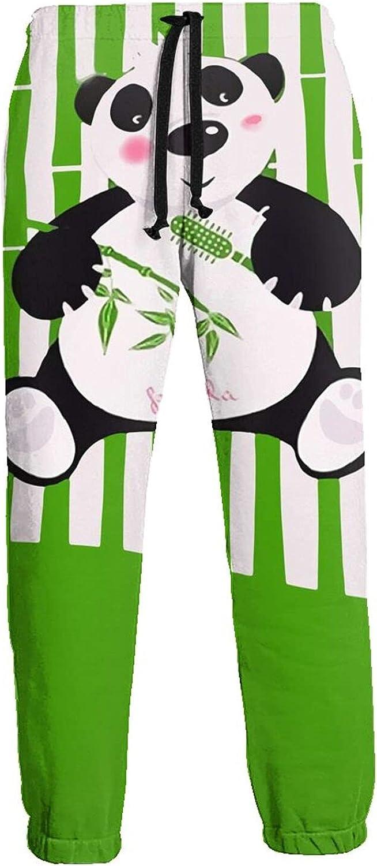 Men's Jogger Sweatpants Panda and Bamboo 3D Loose Joggers Pants with Drawstring Long Pants