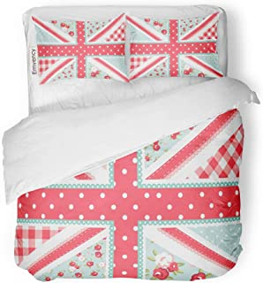SanChic Duvet Cover Set Blue Cute British Flag in Shabby Chic Floral Decorative Bedding Set with 2 Pillow Cases Full/Queen Size