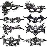 CODIRATO 8 PCS Máscara de Encaje, Máscaras Venecianas Unisex Talla Única Carnaval y Baile de Máscaras para Halloween Veneciano Carnaval Fiesta de Baile (Negro)
