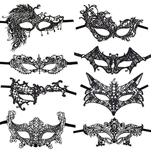 CODIRATO 8 Stück Masquerade Maske Venezianische Maske Sexy Spitzen Maske für Maskerade, Maskenball, Bühnenauftritte, Karneval, Laufstege, Modepartys(Schwarz)