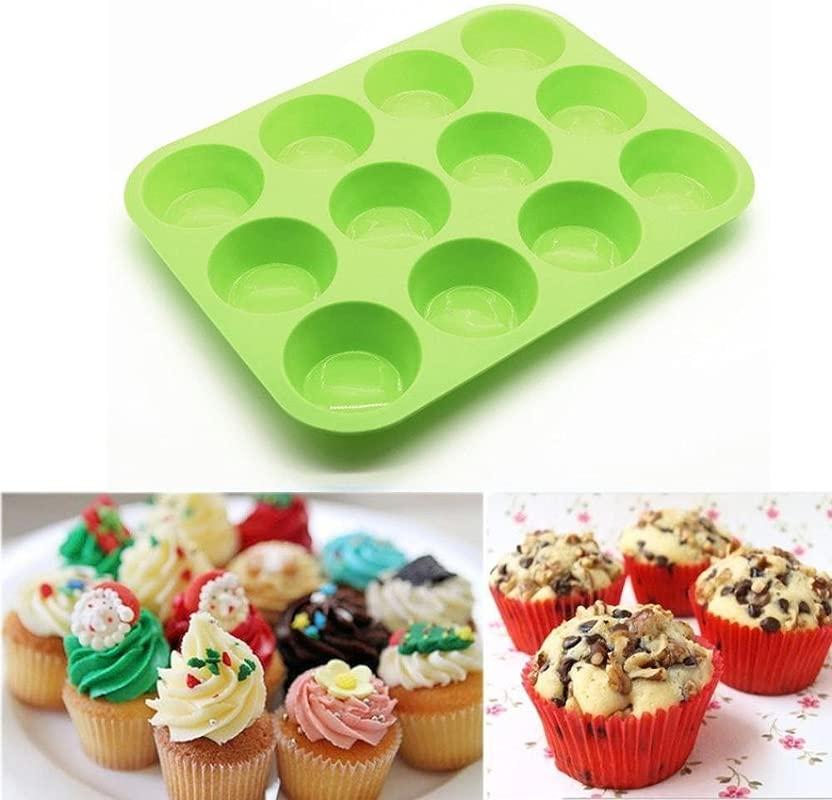 Cupcake Mould Sacow 12 Cup Silicone Muffin Bun Cupcake Baking Pan Non Stick Egg Tart Tray Mini Cake Mold Microwave Safe Green