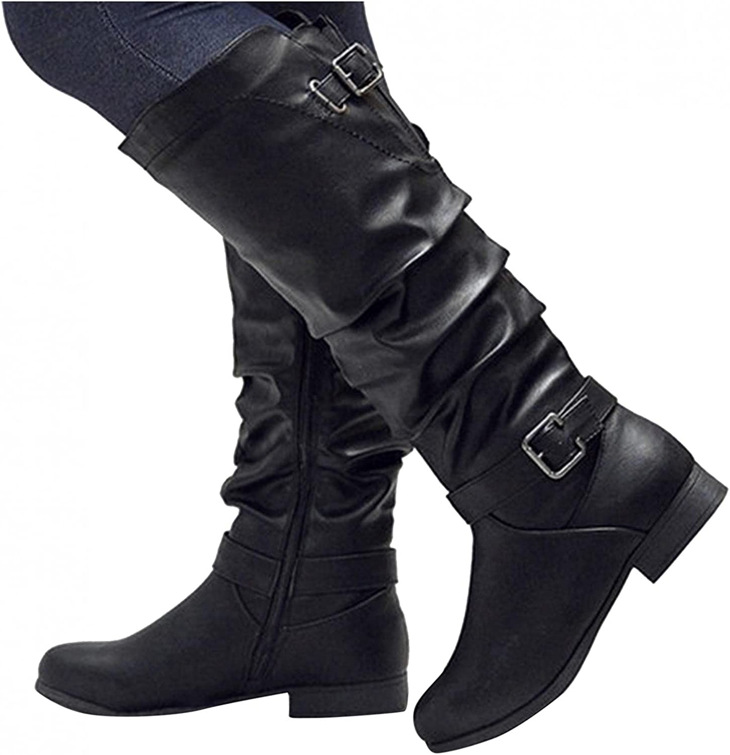 Western Boots for Women Casual Buckle Boots Cowboy Knee High Long Boots Fashion Low-Heel Retro Zipper Boots Winter