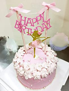 Soccerene HAPPY BIRTHDAY Cake Bunting Topper with Pink Bows and Straws Gold Glitter Ballerina Cake Topper with Pink Dress Set of 2, Assembled Already, Birthday Party Decorations for Girls