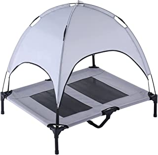 SUPERJARE Outdoor Dog Bed, Elevated Pet Cot with Canopy, Portable for Camping or Beach, Durable 1680D Oxford Fabric, Extra Carrying Bag - Silver Gray