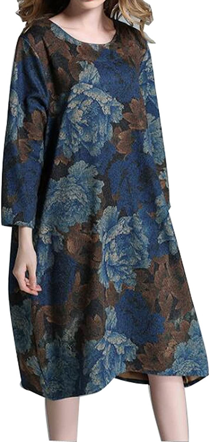 Spring Ladies Long  Sleeved Round Neck Floral Dress