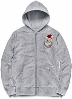 Fox Republic ポケット ホワイト サンタ 子ウサギ グレー キッズ パーカー シッパー スウェット トレーナー 130cm