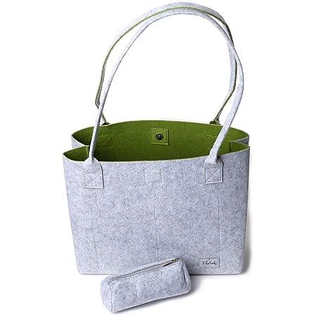 Einkaufstasche Damen Shopper Greta Tragetasche Filztaschen Shopper Handtasche groß Schultertasche - Grau & Grün (15L)