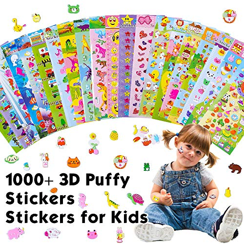 20 Different Scenes, 1000+ 3D Puffy Stickers, Year-Round Sticker Bulk Pack for Teachers,Students, Toddlers,Scrapbooking, Girl Boy Birthday Present Gift,Festival Supplier.
