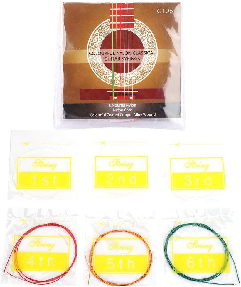 6 unids/set de cuerdas de nailon de Metal, pieza de repuesto, accesorios de instrumentos musicales para guitarra acústica clásica