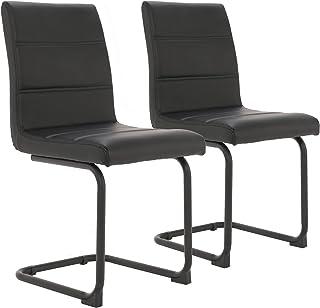 Asukale Multistore 2002 Lot de 2 chaises de salle à manger avec pieds en métal Noir