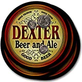 ZuWEE Brand Classic Beer & Ale Coaster Set Personalized with the Dexter Family Name