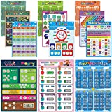 12 Math Charts for Kids, Laminated Educational Math Posters for Elementary School - Multiplication Chart Table, Place Value , Money , Shapes, Fractions, Division, Addition, Subtraction, 16x11