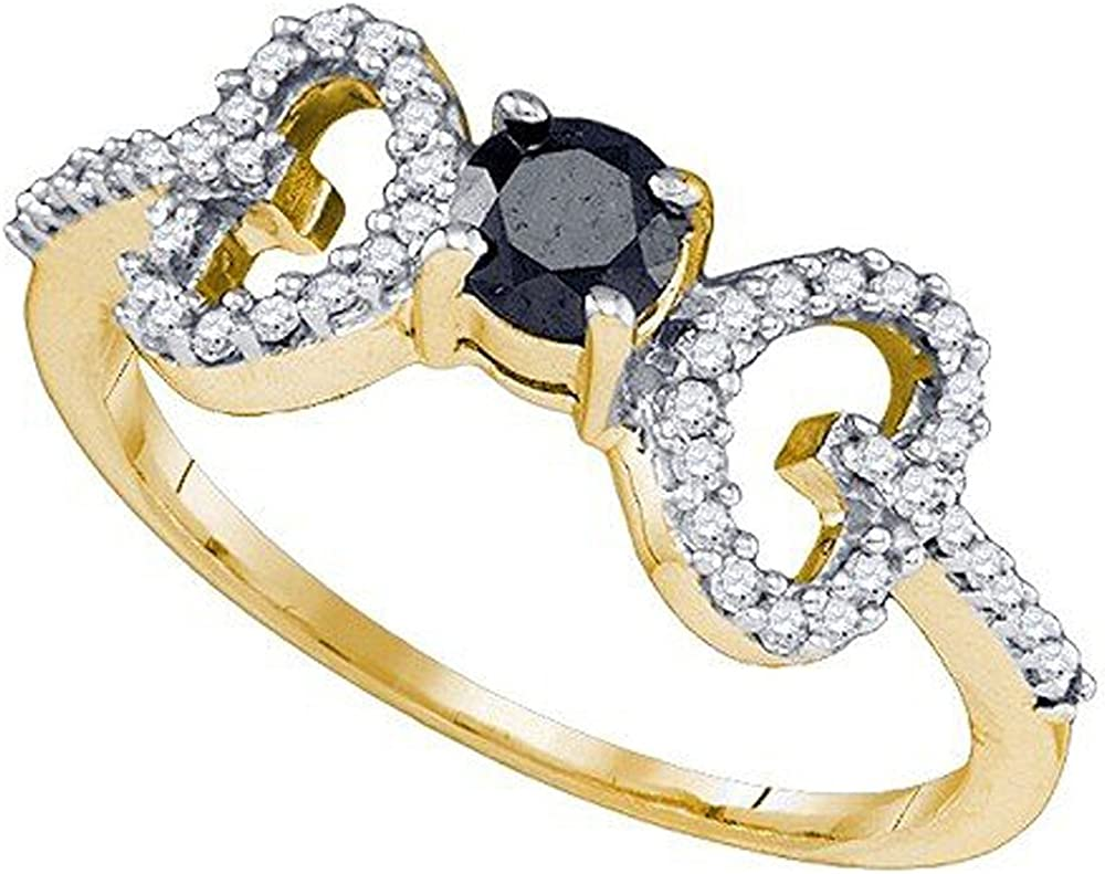 Dazzlingrock Collection 0.50 Carat (ctw) 10k Round White And Black Diamond Promise Heart Bridal Promise Ring 1/2 CT, Yellow Gold