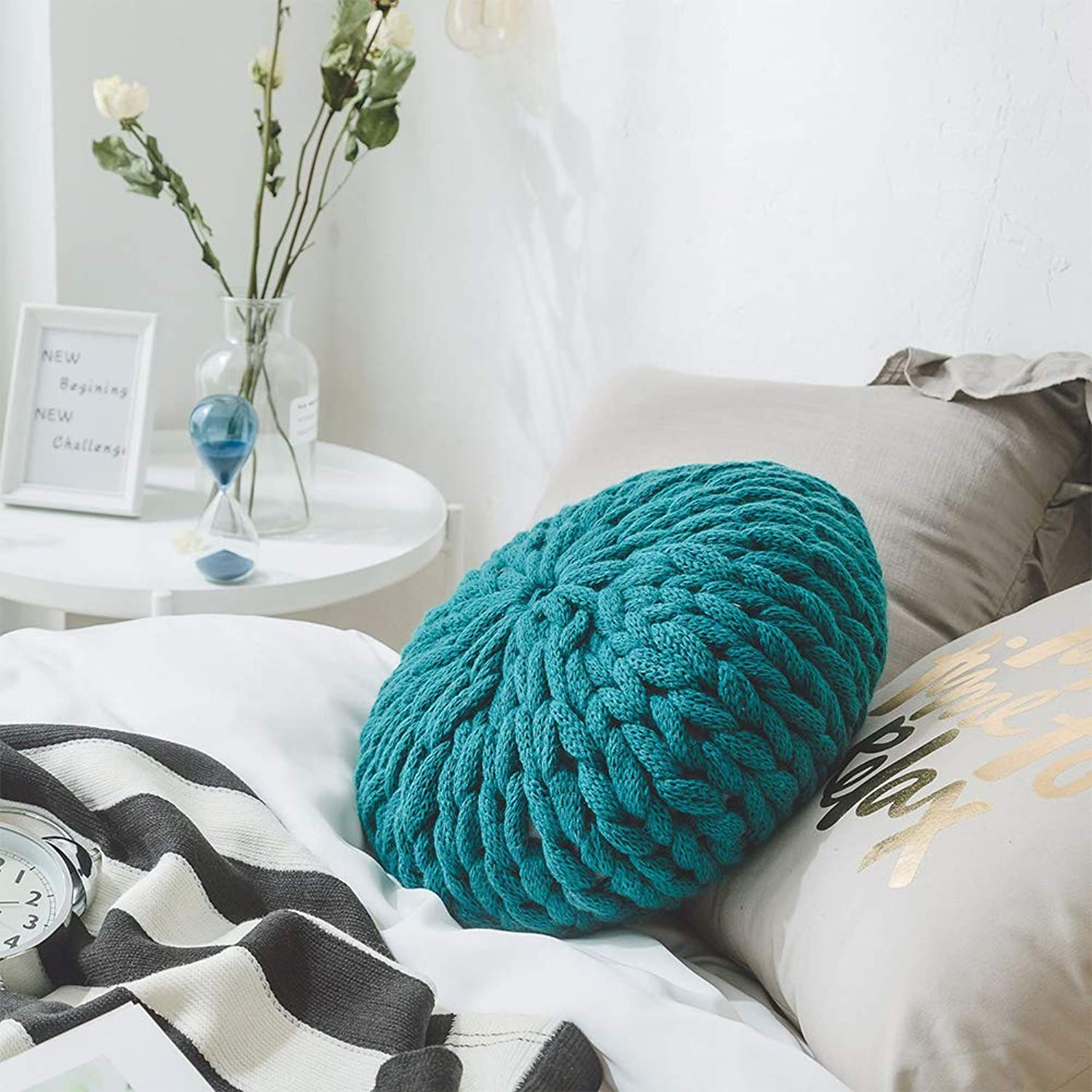 FairOnly Handmade Knitting Thicken Throw Pillow with Inner for Home Sofa Green